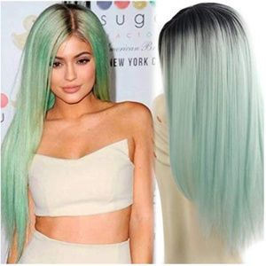 Synthetic Wigs Long Straight Ombre Wig Fiber Mint